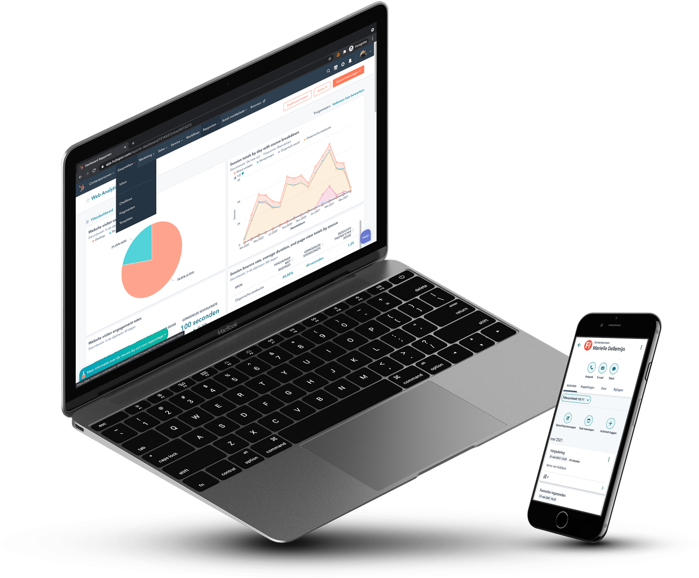hubspot demo screens laptop iphone