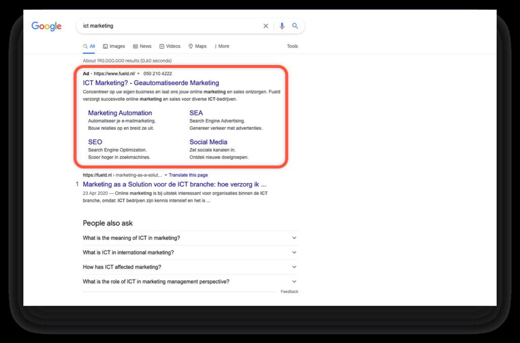 Wat is een google advertentie voorbeeld